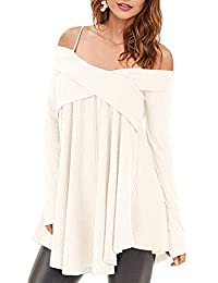 b69b0edf218a Rosegal Women Cold Shoulder Long Sleeve Crossover Sweater Knit Pullover  Tunic Top