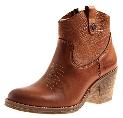 Kathamag 295 Damen Lederstiefelette Leder Cowboy Boots Stiefelette Cognac EU 38