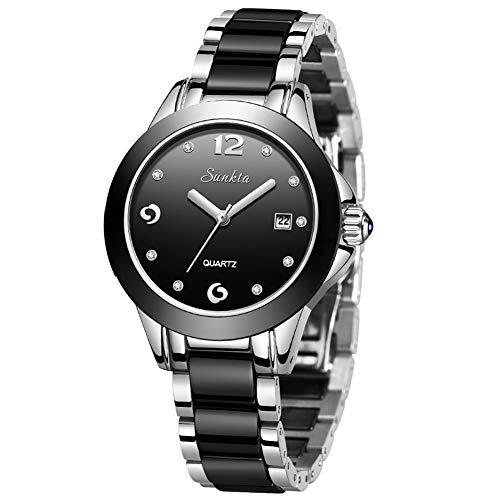 LIGE Uhren Damen Schwarz Edelstahl Gurt Geschäft Uhren Damen Mode Lässig Quarzuhr Armbanduhr