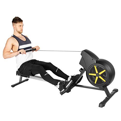 Máquina de Remo JLL® Ventus 1 Air Rower, Modelo 2019, para Entrenamiento, Cardiovascular, con Doble Resistencia Ajustable, Resistencia al Aire y a la fricción, Color Negro y Amarillo