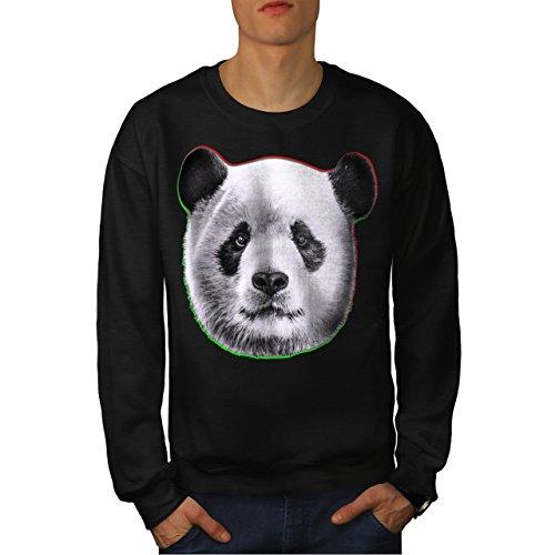 cracked-wood-panda-timber-style-men-new-black-xl-sweatshirt-wellcoda