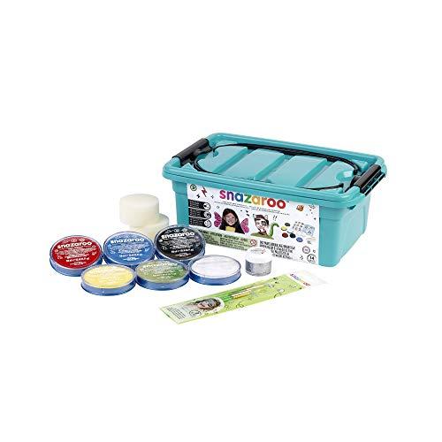 Snazaroo Einsteiger Schmink - Koffer, 6 Farben & Glittergel mit 3 Pinsel, 2 Schwämmchen & Schminkbuch