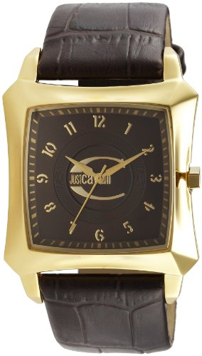 Just Cavalli Men's Watch R7251106055 In Collection Blade with 3 H and S, Gold Brown Dial and Brown Strap