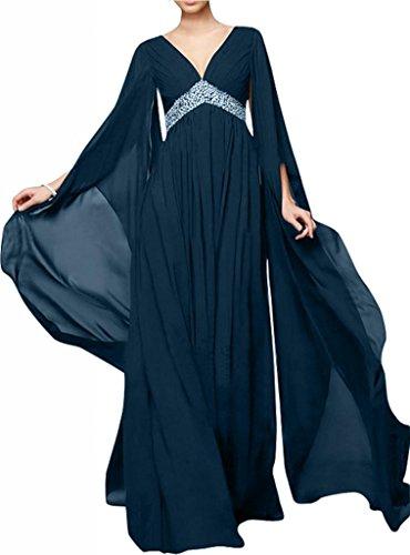 Toscane mariée chic longue avec décolleté en v longueur aermel chiffon abendkleider brautmutter ballkleider party Bleu - Tinte Blau