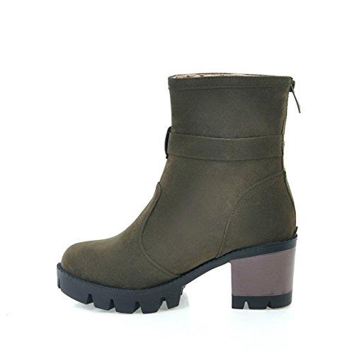 ZQ@QXIn autunno e in inverno, testa tonda impermeabile dello spessore di Taiwan con scarpe con i tacchi alti la moda con anello per cintura e dopo un breve stivali Military Green