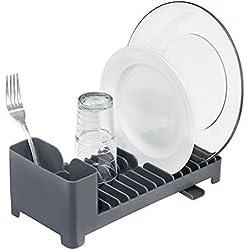 mDesign égouttoir Vaisselle Pratique avec Range-Couverts et écoulement ? égouttoir pour Votre lavabo ? Panier Lave-Vaisselle en Plastique ? Gris Ardoise