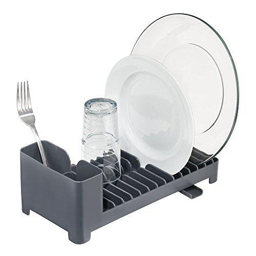 mDesign Práctico escurridor de Platos con escurrecubiertos de plástico
