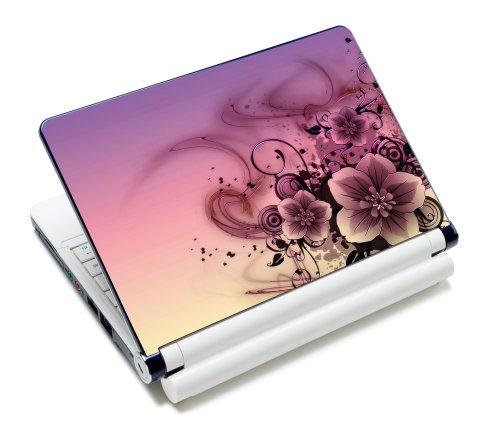 wortek Universal Notebook Skin für Laptops, Ultrabooks & Netbooks bis ca. 10,2 Zoll - Blume Rosa Schwarz (Acer Laptop-deckel Aspire)