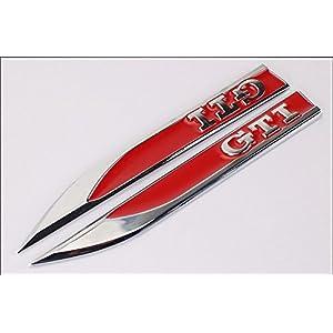 Wallner 2pcs GTI Embleme Abzeichen 3D Auto Aufkleber Seite Metall Messer Typ Fender GTI Für Golf 6 Golf 7 MK4 MK5 MK6 MK7 GTI CC (Red)