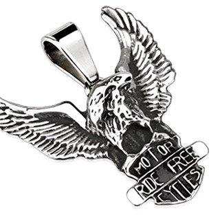 Aquila viennagold Motor Cycles Ride Free Biker in acciaio inox argento uomo (contrastarla ciondolo perle donna acciaio chirurgico alevros drachensilber)