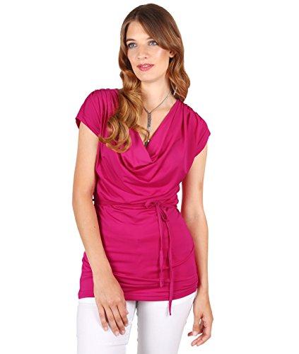 KRISP® Damen Wasserfall Ausschnitt Shirt Rosa (5061)