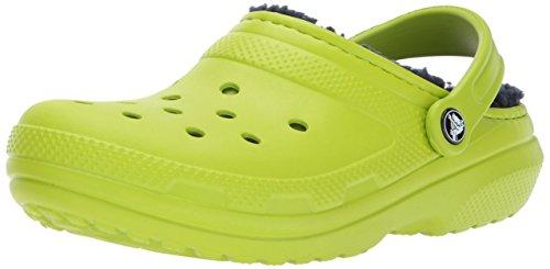 Crocs clsclinedclog, zoccoli unisex – adulto, verde (volt green/navy), 43/44 eu
