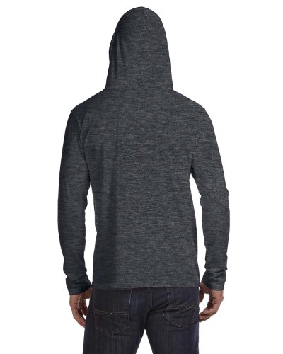 Anvil: Adult Fashion Basic LS Hooded Tee 987 Heather Dark Grey / Dark Grey
