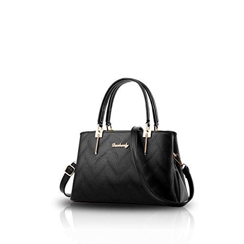 NICOLE&DORIS Nuove donne / Donna Fashion Boutique Top Handle borsa di Crossbody della spalla della borsa del Tote di goffratura modello PU Nero Nero