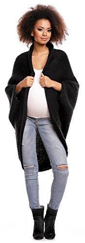 Zeta Ville - Maternité cardigan cocon de grossesse cape col châle - femme - 304c Noir