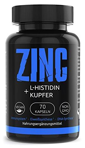 GYM-NUTRITION Einzigartiger Zink L-Histidin Kupfer Komplex in deutscher Premiumqualität   70 vegane hochwirksame Kapseln   einzigartige Zusammensetzung   Zinkbisglycinat mit höchster Bioverfügbarkeit   Haut   Haare   Nägel   Immunsystem  