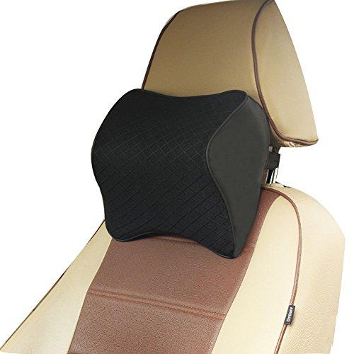 ZATOOTO Auto Nackenkissen Kopfstütze Kissen für Autositz, Nackenstütz mit Memory Schaum für Fahren, Atmungsaktiv, komfortabel, Schwarz, Klein (Feste Unterstützung-schaum)