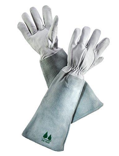Leder Gartenhandschuhe von Fir Tree. Premium Ziegenleder Handschuhe mit Rindsleder Wildleder Gauntlet Ärmeln. Ideal Rose Garden Handschuhe. Für Damen und Herren (Größentabelle Bild) (Wildleder-handschuhe Rindsleder)