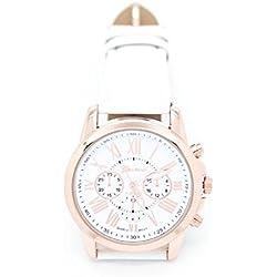 JACKY Women's Roman Numerals Faux Leather Analog Quartz Wrist Watch White