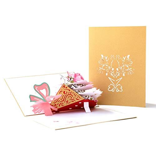 Jintime 3D Muttertagskarten Romantic Pop Up Beautiful Bouquet Grußkarten Weihnachtskarten Recycling Karte Gelegenheiten Geburtstag, Weihnachten, Einladung, Geburtstagskarte (D)