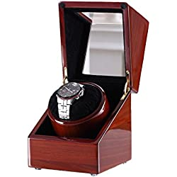 [New Style Rubber Wood] Love Nest Piano Finish Pure Handmade Wood Single Automatic Watch Winder Box with High Quality Japanese Mabuchi Automatic Motor 80A(power included)