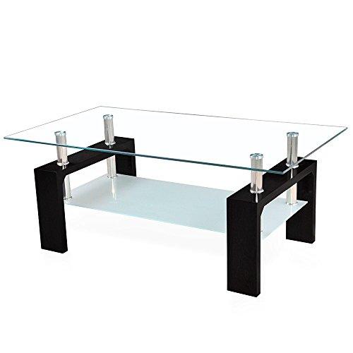 Corium Couchtisch Wohnzimmertisch 100 x 50 x 45 cm Glassplatte Tisch Glastisch Beistelltisch Schwarz -