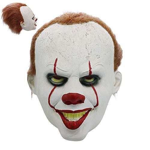 ES Clown Maske Kostüm mit Perücke für Erwachsene, Pennywise Ganzen Kopf Maske Gruselig Schrecklich Maske, Direkt Ab Werk, Zertifizierter - Schreckliche Clown Kostüm