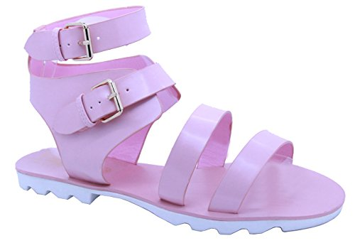 Mesdames Femme Cheville Bretelles Gladiateur à crampons plate-forme Chunky sandales chaussures taille - Pink High Shine Summer Beach Holiday