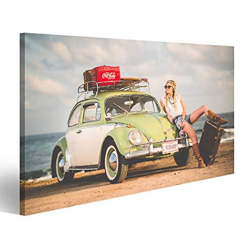 Bild Bilder auf Leinwand VW Käfer Beetle Retro Vintage mit Hippie Girl New York Broadway Surfer Lifestyle am Strand Wandbild Poster Leinwandbild SKG