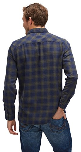 TOM TAILOR Herren Freizeithemd Ray Flannel Check Shirt agate stone blue