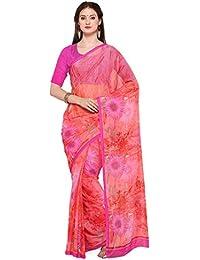 Vaamsi Chiffon Printed Saree (Empress1078_Pink_6.3 M Length)