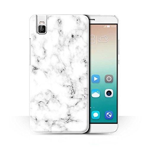 Stuff4® Hülle/Case für Huawei Honor 7i/ShotX/Weiß Muster/Marmor Granit Bewirken Kollektion