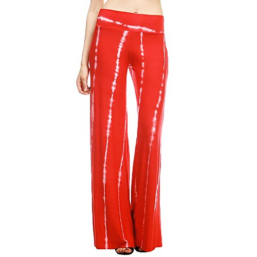 Chic-Chic Women's Red or Rose Elasticated High Waist Palazzo Pants Wide. M to L