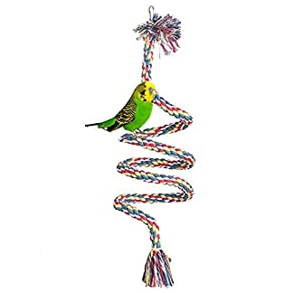 Baleba Colourful Spiral Cotton Rope Bird Perch Chewing Toy for Parrots Budgies Parakeets Cockatiels Parakeets Infinite Finch Toys Cage Swing with Bells 416qnjCzR L