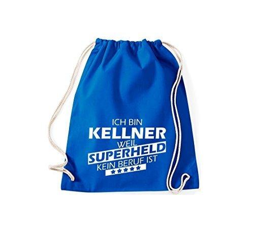 shirtstown BORSA PALESTRA Ich bin Kellner, WEIL supereroe NESSUN occupazione è - grigio, 37 cm x 46 cm blu reale