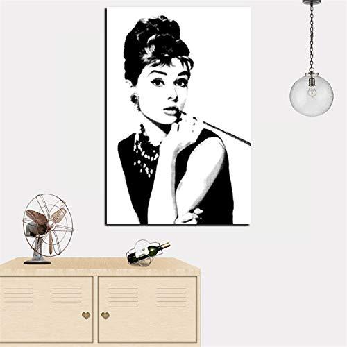 Hd druck schwarz mit weiß audrey hepburn porträt auf leinwand wandkunst bild pop art gemälde für wohnzimmer cuadro dekoration 40 * 70 cm