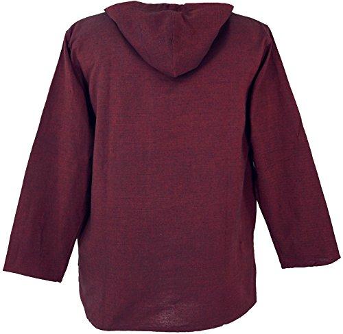 GuruShop Yoga Hemd, Goa Hemd Om, Sweatshirt, Herren, Baumwolle, Männerhemden  Alternative Bekleidung Bordeaux Sweatshirt Baumwolle Herren