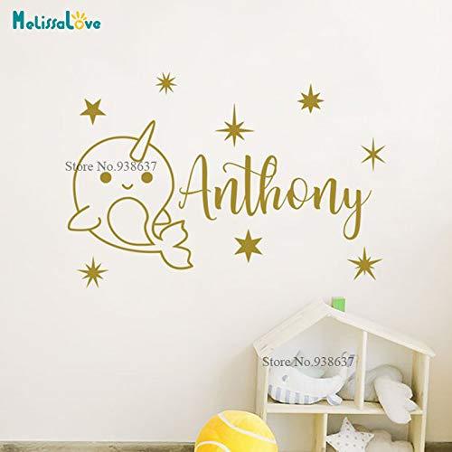Benutzerdefinierte Name Aufkleber Personlised CuteNarwhal und Star Design Cartoon Whale Baby Zimmer Aufkleber Kinderzimmer Wandaufkleber Dekoration B 60x40cm -