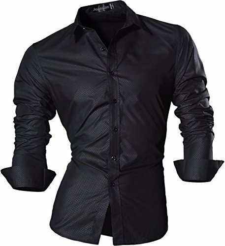 Jeansian Hommes Mode Casual Chemises Manche Longue Men's Fashion Business Formal Dress Shirt Slim Tops Z029 Black