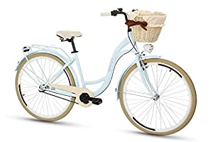 Goetze Colours 28 Zoll Damen Citybike Stadtrad Damenfahrrad Damenrad Hollandrad Retro-Design 3-Gang Korb Hinterradbremse LED-Beleuchtung Hellblau-Beige