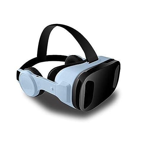 3D Virtual Reality Headset VR Lunettes réglables Watching 103 Degree Video Movie Playing Immersive Games pour 4.5-6 Inch Smartphone avec écouteurs télescopiques et boutons VB2 Smart Glasses , blue