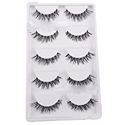 Bluelans® 5 Paar Lang Kreuz Falsche künstliche Wimpern Schwarz Eyelasches Wimpernverlängerung Make-up