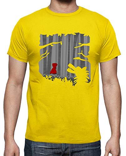 latostadora - Camiseta Caperucita para Hombre Amarillo limón XXL
