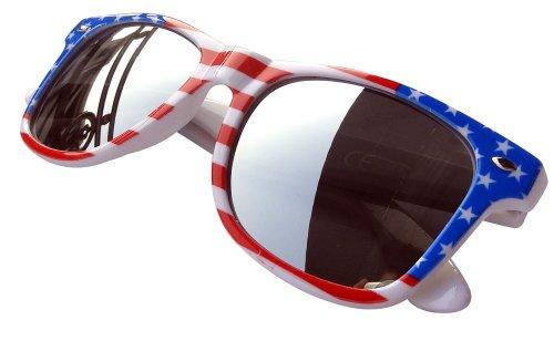 American Usa Fashion Festival Wayfarer Sonnenbrille mit Spiegelgläsern, Stars & Stripes