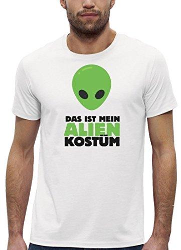 Fasching Karneval Premium Herren T-Shirt Bio Baumwolle Das ist mein Alien Kostüm 2 Stanley Stella White