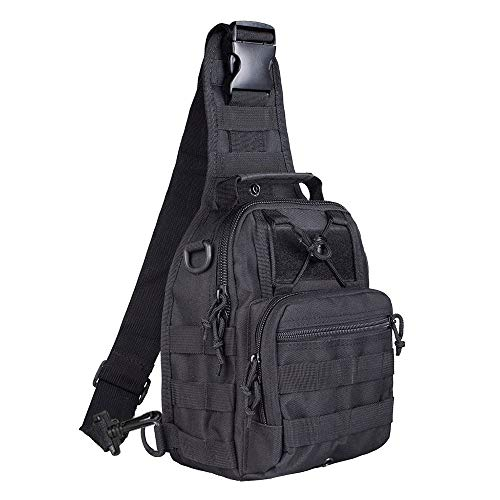 Shuweiuk Tactical Sling-Rucksack Militär Schulter Kasten EDC-Tasche für Outdoor-Sport Camp Wandern, schwarz