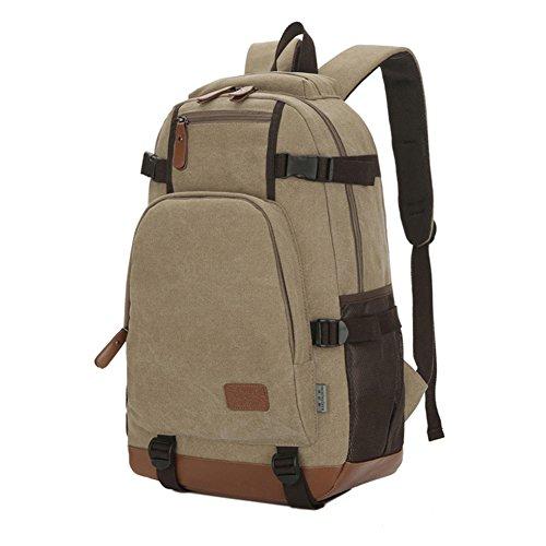 Nouveau sac à dos Sacs à bandoulière Sac 15 pouces Voyage grande capacité Ecole Sac à bandoulière Sac à main d'affaires (kaki)