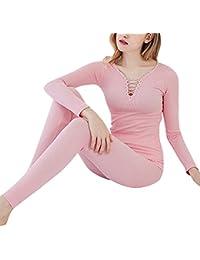 Mujer Invierno Cuello V Conjunto Termico Larga Ropa Interior Conjunto De Pijama
