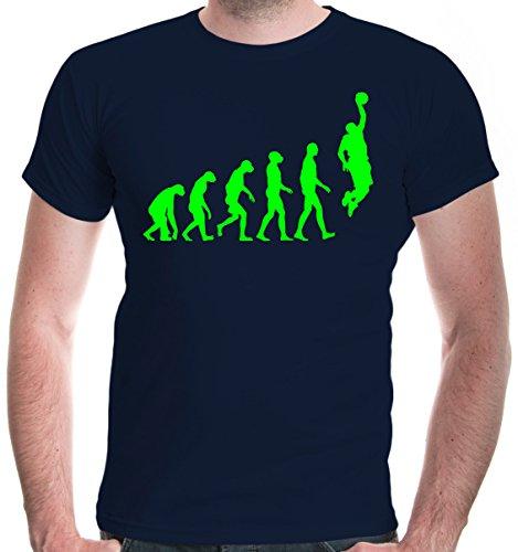 (buXsbaum® Herren T-Shirt The Evolution of Basketball | Development Ballsport Fanshirt Trikot | S, Blau)