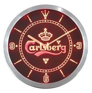 Bouteille Carlsberg Beer Bar Pub Neon ENSEIGNE LUMINEUSE A LED Horloge murale